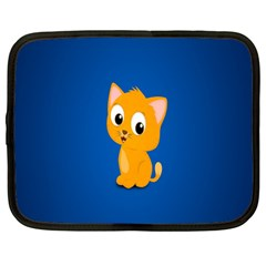 Cute Cat Netbook Case (large) by AnjaniArt