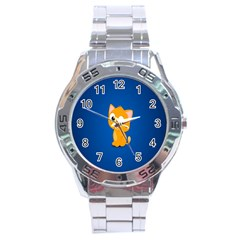 Cute Cat Stainless Steel Analogue Watch