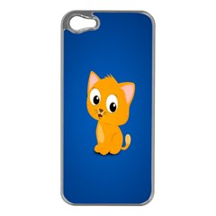 Cute Cat Apple Iphone 5 Case (silver) by AnjaniArt