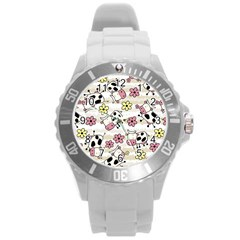 Cow Animals Round Plastic Sport Watch (l)