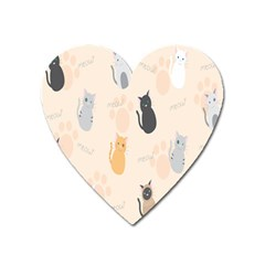 Cute Cat Meow Animals Heart Magnet by AnjaniArt