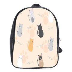 Cute Cat Meow Animals School Bags(large)  by AnjaniArt