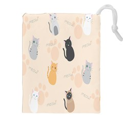 Cute Cat Meow Animals Drawstring Pouches (xxl) by AnjaniArt