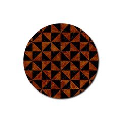 Triangle1 Black Marble & Brown Marble Rubber Coaster (round) by trendistuff