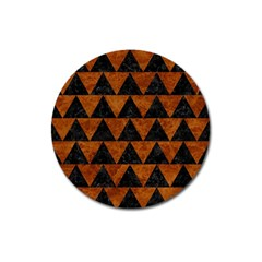 Triangle2 Black Marble & Brown Marble Magnet 3  (round)