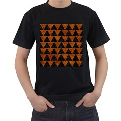 Triangle2 Black Marble & Brown Marble Men s T Shirt (black) (two Sided) by trendistuff