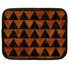 Triangle2 Black Marble & Brown Marble Netbook Case (xl) by trendistuff