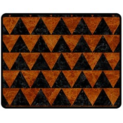 Triangle2 Black Marble & Brown Marble Fleece Blanket (medium) by trendistuff