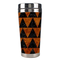 Triangle2 Black Marble & Brown Marble Stainless Steel Travel Tumbler by trendistuff