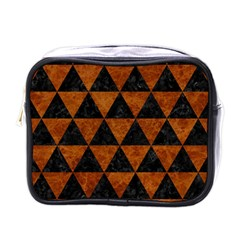 Triangle3 Black Marble & Brown Marble Mini Toiletries Bag (one Side) by trendistuff