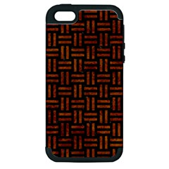 Woven1 Black Marble & Brown Marble Apple Iphone 5 Hardshell Case (pc+silicone) by trendistuff