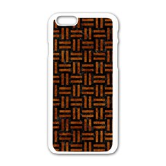 Woven1 Black Marble & Brown Marble Apple Iphone 6/6s White Enamel Case by trendistuff