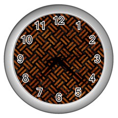 Woven2 Black Marble & Brown Marble Wall Clock (silver) by trendistuff