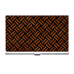 Woven2 Black Marble & Brown Marble Business Card Holder by trendistuff