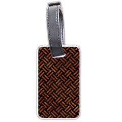 Woven2 Black Marble & Brown Marble Luggage Tag (one Side) by trendistuff