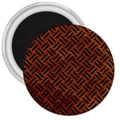 Woven2 Black Marble & Brown Marble (r) 3  Magnet by trendistuff