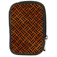 Woven2 Black Marble & Brown Marble (r) Compact Camera Leather Case by trendistuff
