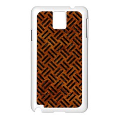 Woven2 Black Marble & Brown Marble (r) Samsung Galaxy Note 3 N9005 Case (white) by trendistuff