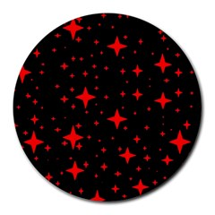 Bright Red Stars In Space Round Mousepads by Costasonlineshop