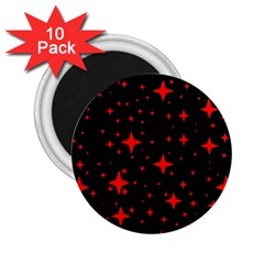 Bright Red Stars In Space 2 25  Magnets (10 Pack)  by Costasonlineshop