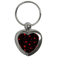 Bright Red Stars In Space Key Chains (heart)  by Costasonlineshop
