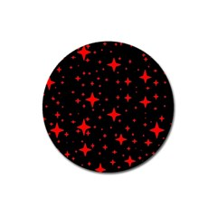 Bright Red Stars In Space Magnet 3  (round) by Costasonlineshop