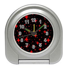 Bright Red Stars In Space Travel Alarm Clocks by Costasonlineshop