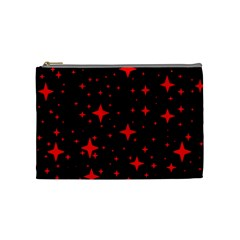 Bright Red Stars In Space Cosmetic Bag (medium)  by Costasonlineshop