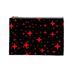 Bright Red Stars In Space Cosmetic Bag (large)  by Costasonlineshop