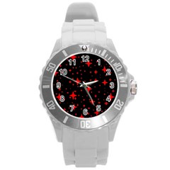 Bright Red Stars In Space Round Plastic Sport Watch (l) by Costasonlineshop
