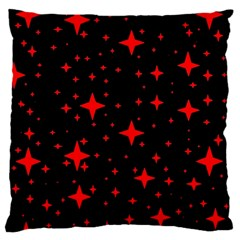 Bright Red Stars In Space Large Cushion Case (two Sides) by Costasonlineshop