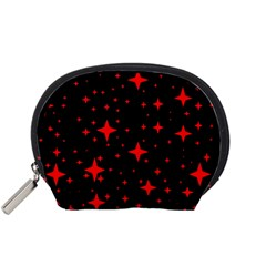 Bright Red Stars In Space Accessory Pouches (small)  by Costasonlineshop