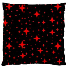 Bright Red Stars In Space Large Flano Cushion Case (two Sides) by Costasonlineshop