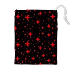 Bright Red Stars In Space Drawstring Pouches (extra Large) by Costasonlineshop