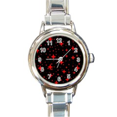 Bright Red Stars In Space Round Italian Charm Watch