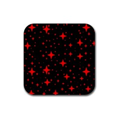 Bright Red Stars In Space Rubber Square Coaster (4 Pack)  by Costasonlineshop