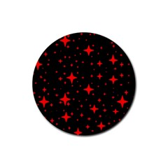 Bright Red Stars In Space Rubber Round Coaster (4 Pack)  by Costasonlineshop
