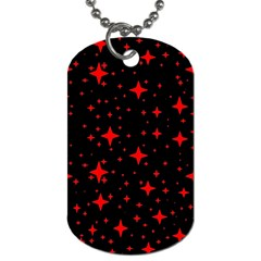 Bright Red Stars In Space Dog Tag (one Side) by Costasonlineshop