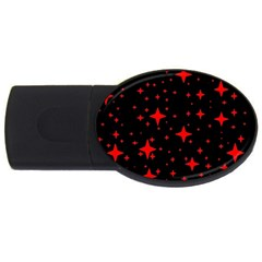 Bright Red Stars In Space Usb Flash Drive Oval (2 Gb)  by Costasonlineshop