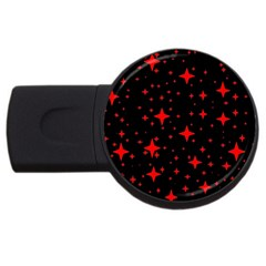 Bright Red Stars In Space Usb Flash Drive Round (4 Gb)  by Costasonlineshop