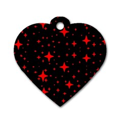 Bright Red Stars In Space Dog Tag Heart (one Side) by Costasonlineshop