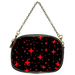 Bright Red Stars In Space Chain Purses (one Side)  by Costasonlineshop