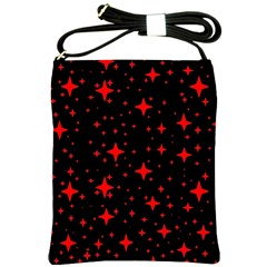 Bright Red Stars In Space Shoulder Sling Bags by Costasonlineshop