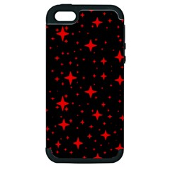 Bright Red Stars In Space Apple Iphone 5 Hardshell Case (pc+silicone) by Costasonlineshop