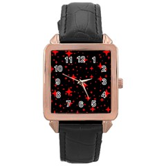 Bright Red Stars In Space Rose Gold Leather Watch  by Costasonlineshop