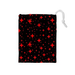 Bright Red Stars In Space Drawstring Pouches (medium)  by Costasonlineshop