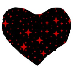 Bright Red Stars In Space Large 19  Premium Flano Heart Shape Cushions by Costasonlineshop