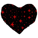 Bright Red Stars In Space Large 19  Premium Flano Heart Shape Cushions Front