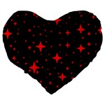 Bright Red Stars In Space Large 19  Premium Flano Heart Shape Cushions Back