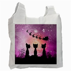 Cats Looking In The Sky At Santa Claus At Night Recycle Bag (one Side) by FantasyWorld7
